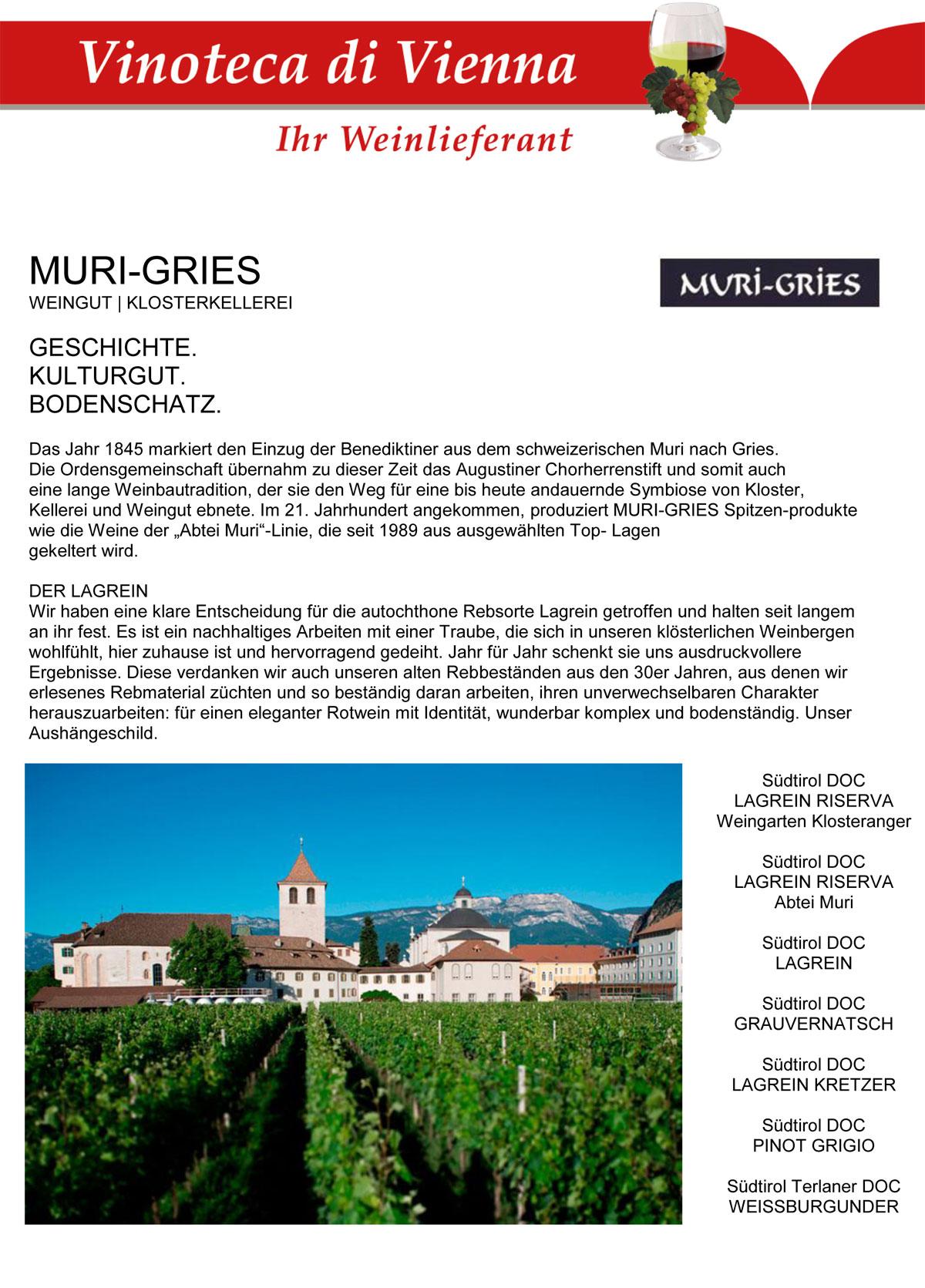 Muri Gries, Weingut, Klosterkellerei
