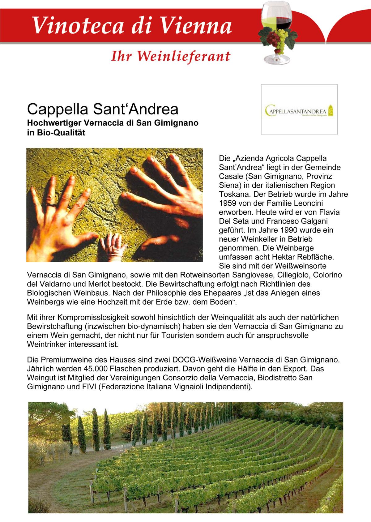 Cappella Sant'Andrea, Hochwertiger Vernaccia di San Gimignano in Bio-Qualität