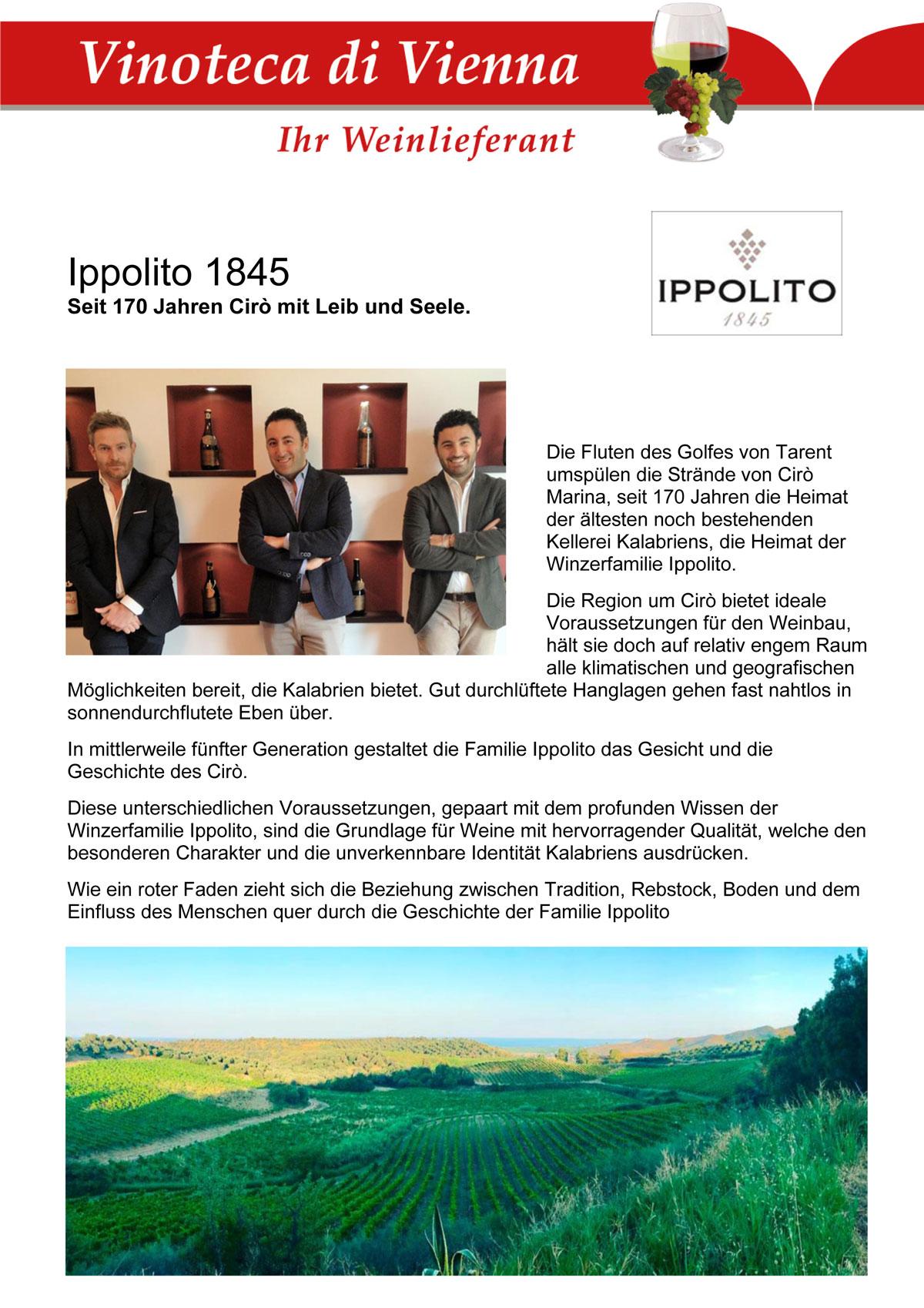 Ippolito 1845, Seit 170 Jahren Cirò mit Leib und Seele. Cirò Marina, Kalabrien